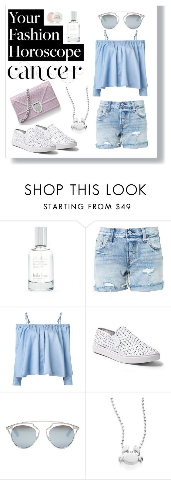 """""""Fashion Horoscope -Cancer"""" by juliamella on Polyvore featuring Splendid, Levi's, Sandy Liang, Steve Madden, Christian Dior, Alex Woo and Fresh"""