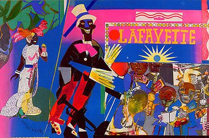 Romare Bearden  (American, 1911-1988)  Johnny Hudgins Come On:  from Profile/Part II: The Thirties Series