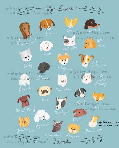 your choice of 5 x7  8x10  11x14  13x19 this abc dog print is adorable  dog breed names starting