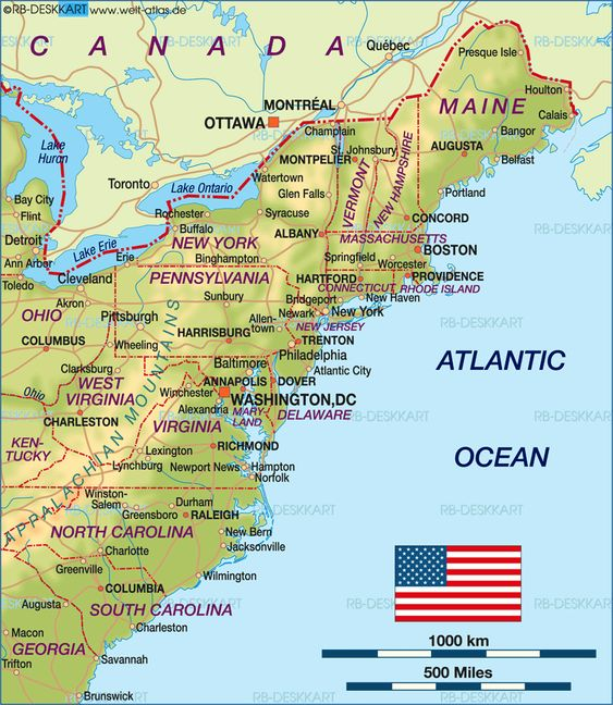 map of east coast – Map Usa Vacation Spots