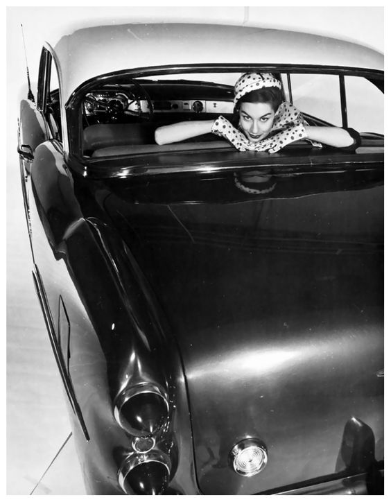 Nancy Berg in a Cadillac ad, photo by Erwin Blumenfeld, New York, 1953