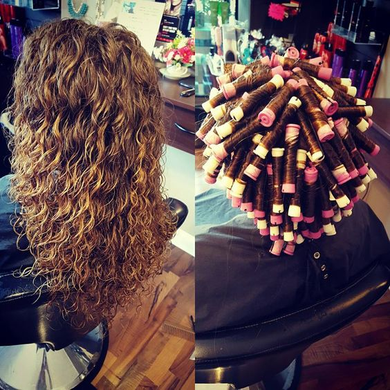 spiral perm on white and lavender rods