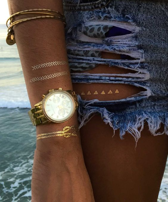TribeTats highest quality Metallic Tattoos -- flash tattoos, gold tattoos, silver tattoos, temporary tattoos, jewelry tattoos, festival fashion, beach outfits