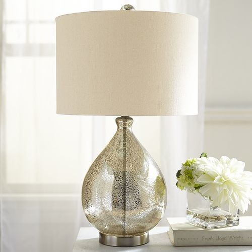 Our Mercury Glass Lamp With A Champagne Colored Shade Is Worthy Of A Toast Or Two Not Only Does It Make An Art Mercury Glass Lamp Silver Table Lamps Room Lamp