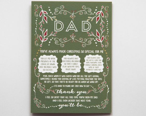 Let your dad know hes going to be a grandpa by next Christmas with this special Christmas pregnancy reveal card! // by WrittenInDetail on Etsy