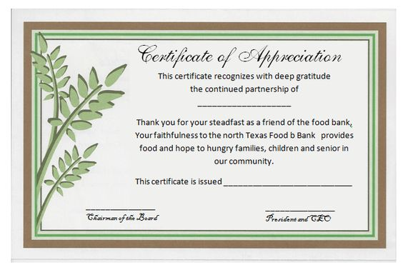 Certificates Of Appreciation - Templates, Samples \ Wording Arts - certificate of appreciation wordings