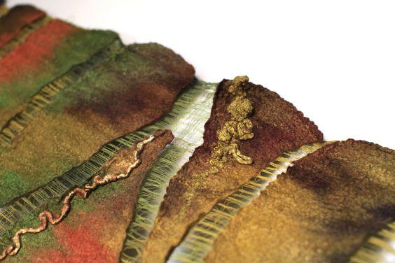 "https://flic.kr/p/9XdCJk | Nuno Felted Wrap Custom | 50/50 mulberry silk / extra fine Australian merino wool, cotton gauze fabric. Length 83 1/2"" (212 cm) Width 16 1/2"" ( 42 сm) Weight 4,85 oz (136 gm)"