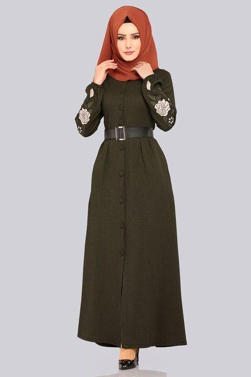 Elbise Kolu Nakisli Elbise Ferace Ukb4031 Haki Elbise Elbiseler Giyim