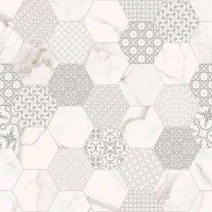 Mosaique Infinity Marbletech White Hexagon Mat Rett Avec Images