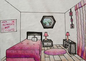 in drawing this is a one point perspective drawing of my bedroom