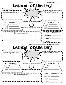Worksheet that can be used as a daily bell ringer. Students will practice skills with decimals that increase number sense.... expanded form, word form, comparing, multiply / divide by powers of 10, rounding, using a number line.