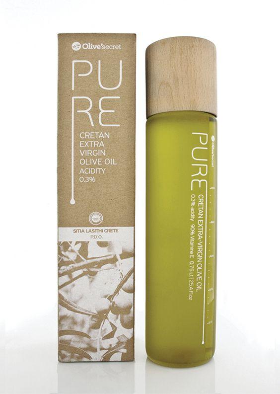 Pure - Olive'secret (huile d'olive bio)   Design : Dot Creative Studio, Héraklion, Grèce (octobre 2015)
