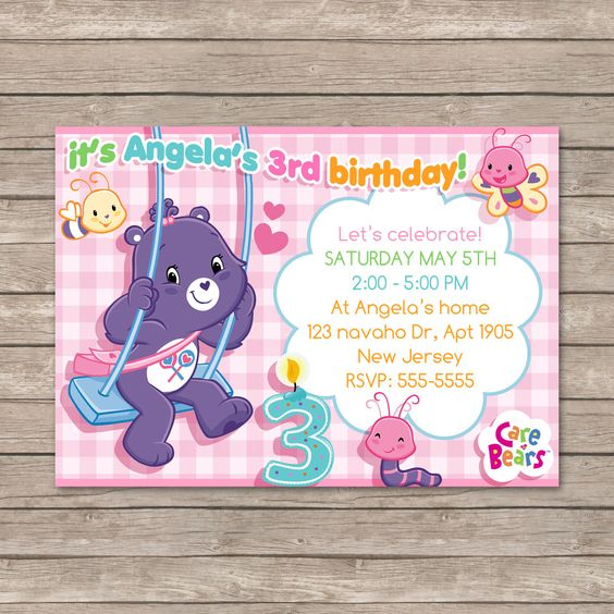 Care Bears Birthday Invitations Digital Printable File Bear – Care Bears Birthday Invitations