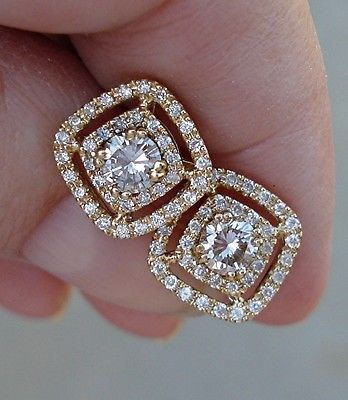 1 Carat Diamond Earrings with Double Diamond by LuxinelleJewelry