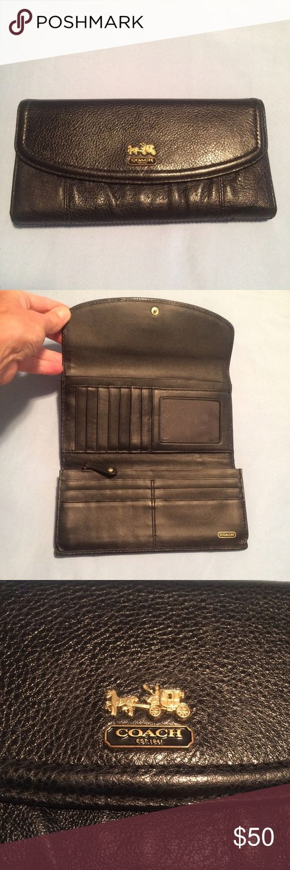 Coach Wallet Authentic Coach Wallet. Pre-loved condition, couple of tiny creases on clear plastic inside of the wallet (where you put your picture) shown in last photo, not very visible. Other than that, no signs of wear, excellent condition! Coach Bags Wallets