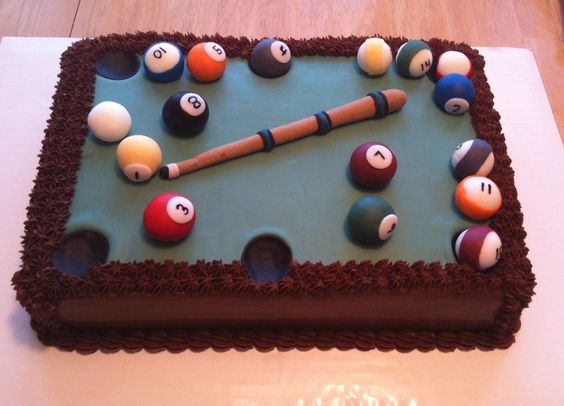 Sticking Cake Decorations On Fondant : Pool table groom s cake. Fondant balls and cue stick ...