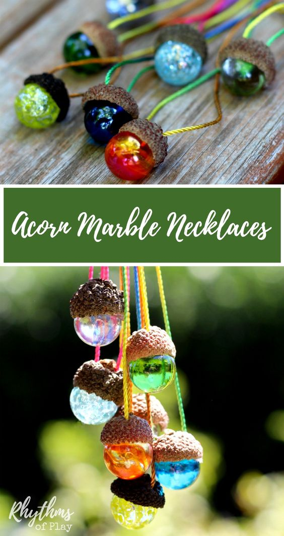 This DIY acorn marble necklace is an easy nature craft idea for kids and adults. They are made with natural acorn caps and make a gorgeous piece of handmade jewelry when worn as a necklace. They also make wonderful window decorations. They can be given as gifts and birthday party favors. Both young children and older adults wear these DIY acorn marble necklaces with pride.: