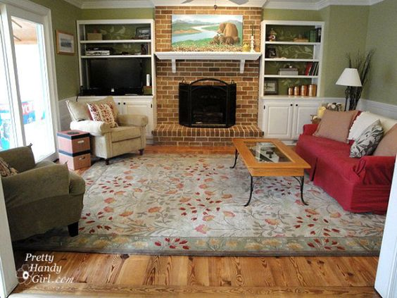 Cozy Rustic Living Room Antique Heart Pine Floors Painted Brick Fireplace Decorative Wall Painting On Bookcase Back Flooring Paint