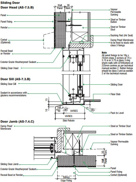 Sliding door head detail architectural details for Window jamb definition