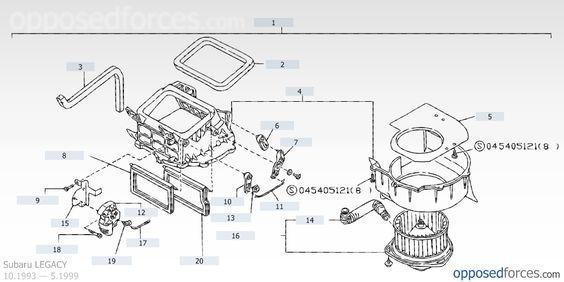 Heater blower — Illustration #1, Subaru LEGACY — Subaru parts catalog