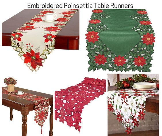 Embroidered Poinsettia Table Runners