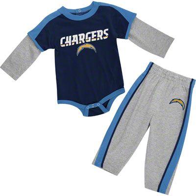 San Diego Chargers Newborn Long Sleeve Creeper & Pant Set