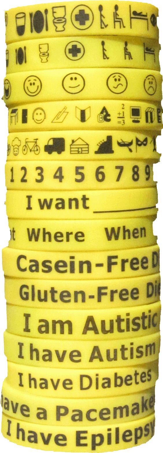 a variety of communication bracelets