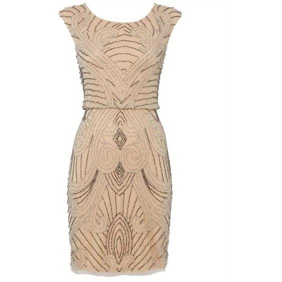 RAISHMA Nude Flapper Dress ($265) ❤ liked on Polyvore featuring dresses, nude, women, gatsby dress, beige dress, roaring 20s dress, fancy dresses and loose dress