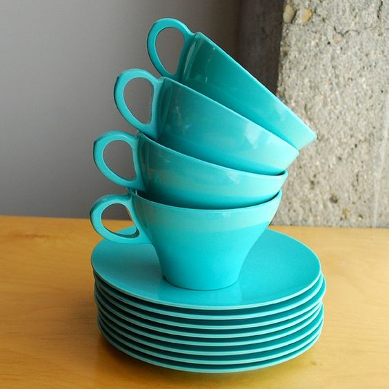 Vintage Turquoise Blue Melamine Tea Cup and Saucer Set