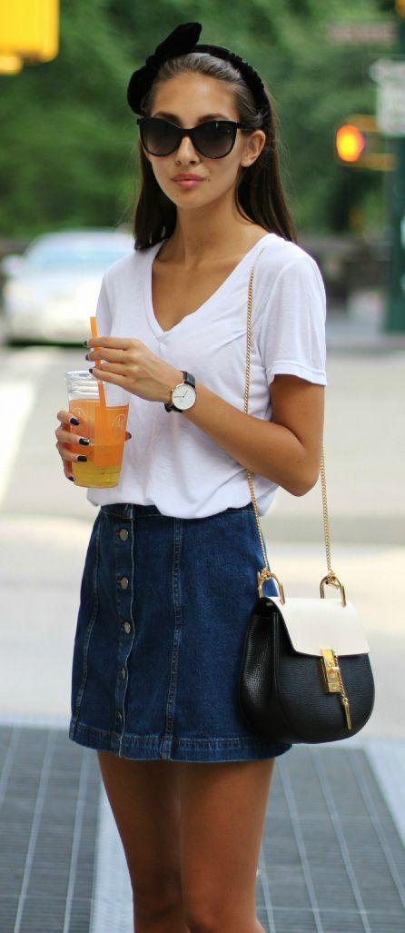 Felicia Akerstrom in a denim button front Topshop mini skirt and cat eye #sunglasses http://www.smartbuyglasses.co.uk/designer-sunglasses/Vogue-Eyewear/Vogue-Eyewear-VO2941S-IN-VOGUE-W44/11-256600.html?utm_source=pinterest&utm_medium=social&utm_campaign=P