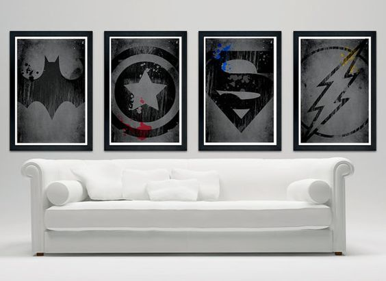 Superheroes logo poster set, Batman, Captain America, Superman, Flash //12x18 matte finish print//