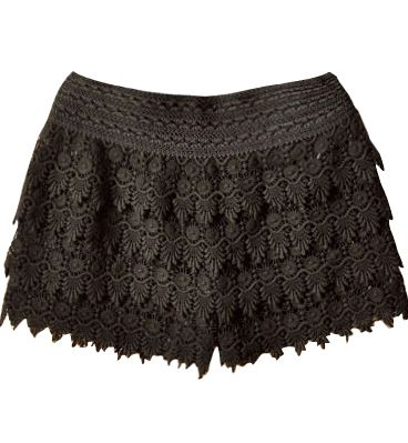 Sheinside - Black Layered Crochet Lace Shorts