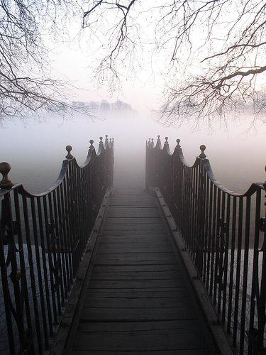 into the fog...: Picture, Fogbridge, Black White, Foggy Path, Photo