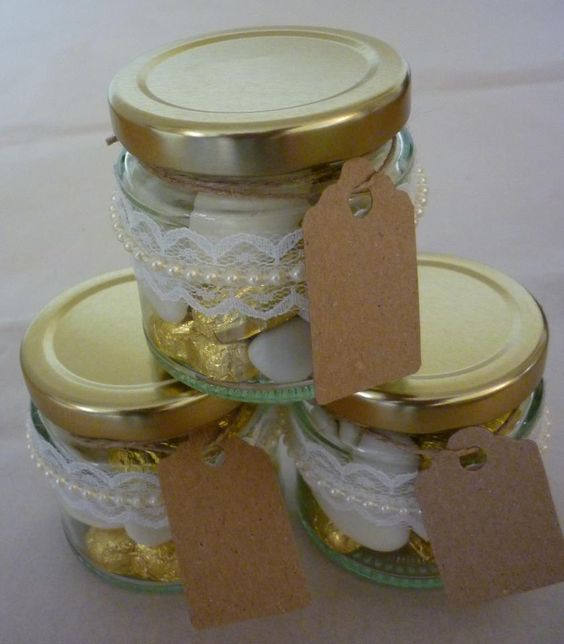Vintage feel, lace and pearl decorated favour jar