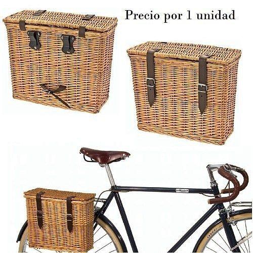 Cesta Mimbre Lateral Tapa Y Cierre Accesorios Para Bicicletas Almacenamiento Para Bicicletas Bicicleta Con Canasta