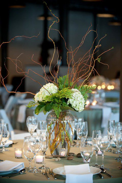 Hydrangea and curly willow wedding centerpiece  #GabrielCo #MyPerfectWedding: