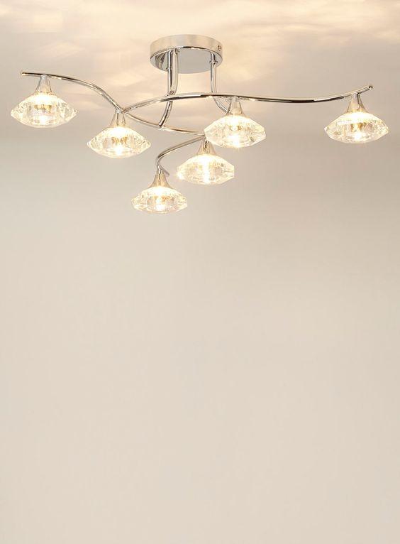 Bedroom Ceiling Lights Bhs : Greta light flush ceiling lights home lighting