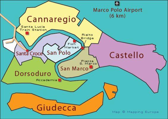 Venice Neighborhoods, or Sestieri, Map and Travel Tips: Venice Sestiere Map