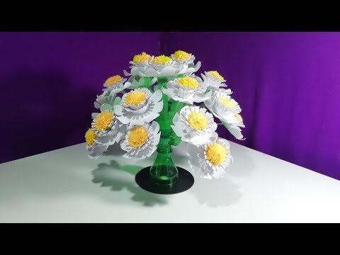 Make Wonderful Paper Flower Vase How To Make Beautiful Flower Make Plastic Bottle Flower Vase Youtube Paper Flower Vase Paper Flowers Simple Paper Flower