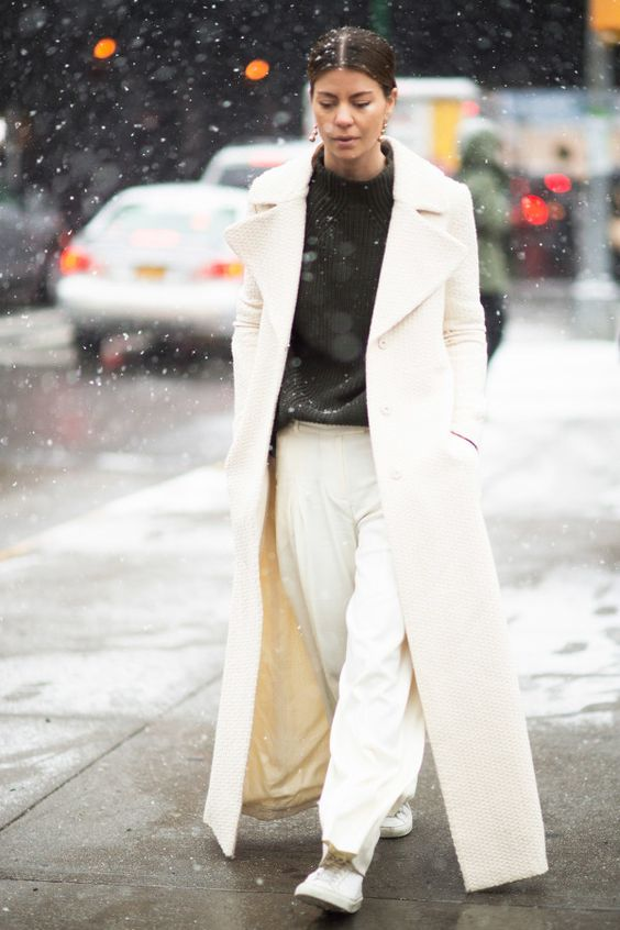 - Styling Tip: Although winter whites may seem high maintenance, these ensembles look best with low-key hair and makeup.