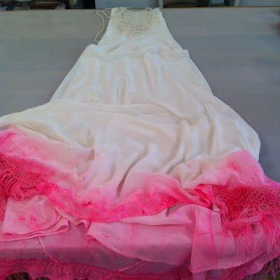 Beautiful ->Custom Ryan Roche wedding dress for Jenny Uehisa..silk and hand crochet cashmere...dipped in neon pink.