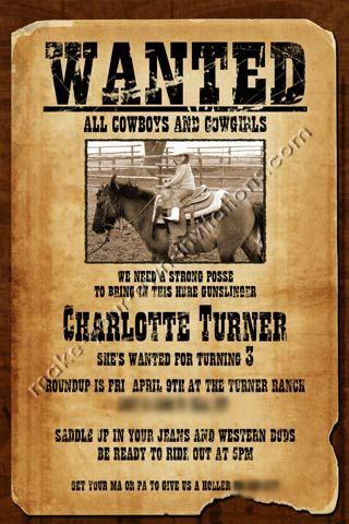 Free Printable Wanted Poster Invitations | ... Invitations ...