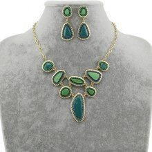 Stylish Gem Embellished Openwork Design Necklace and Earrings For Women