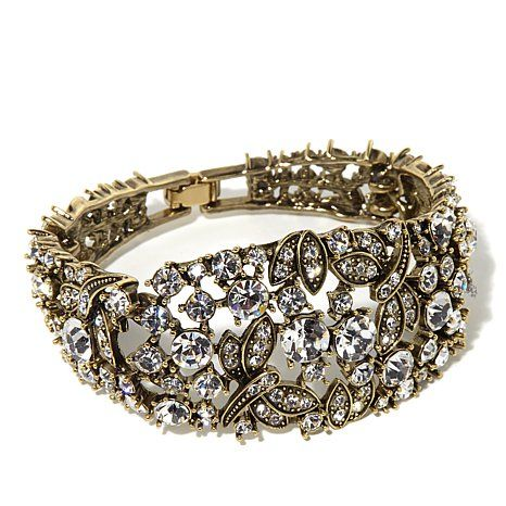 "Heidi Daus ""Fantasy in Flight"" Tapered Crystal-Accented Semi-Bangle Link Bracelet at HSN.com"