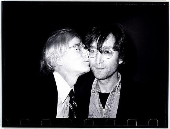 Andy Warhol Kissing John Lennon - Photographed by  Christopher Makos,  Gelatin silver print