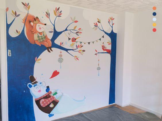 Fresque Murale Chambre D 39 Enfant Un Ours Fait Une Petite Sieste L 39 Ombre D 39 Un Petit Renard
