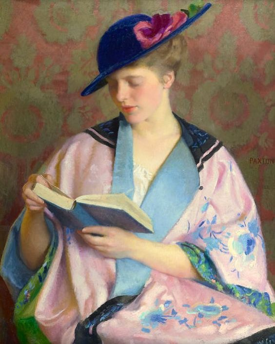 """""""The Blue Book"""" by American painter William McGregor Paxton ca. 1914. In private collection (?)"""
