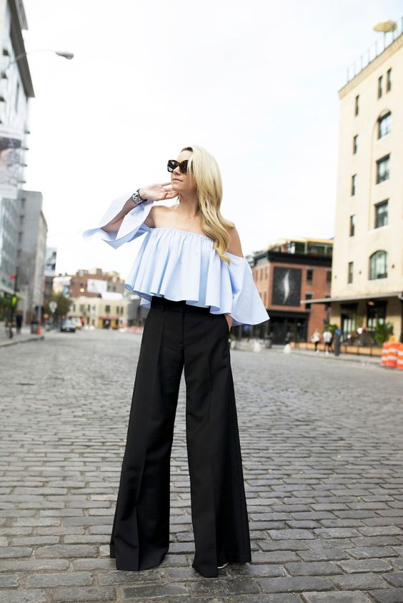 cropped ruffled top with dress pants: