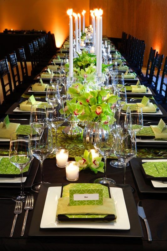 I love the green black white and silver combination for Black and white tablescape ideas