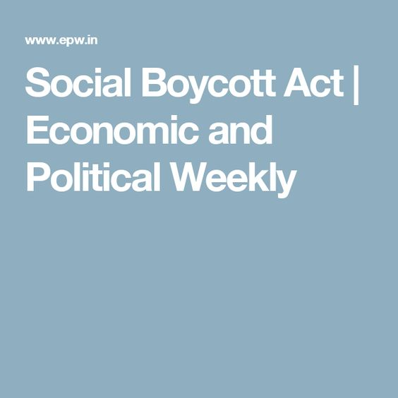 Social Boycott Act | Economic and Political Weekly